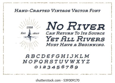 Vintage Font Handcrafted with Old Style Vector Eps10