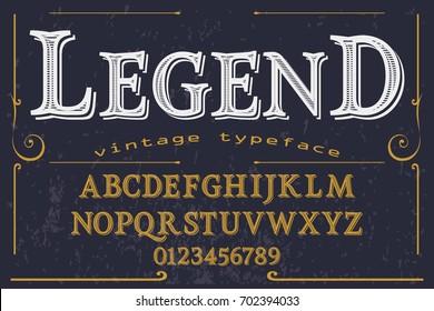 Vintage Font handcrafted vector legend