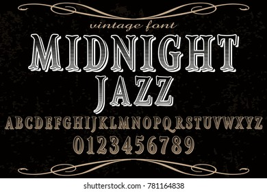 vintage font handcrafted vector named midnight jazz