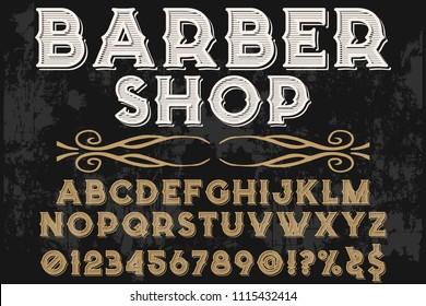 Vintage Font handcrafted vector script alphabet,design handwritten named barber shop