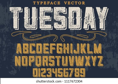 Vintage Font handcrafted vector script alphabet,design handwritten named vintage tuesday