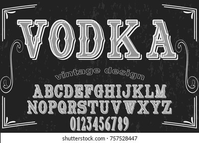 Vintage Font handcrafted vector script alphabet,design handwritten named vodka