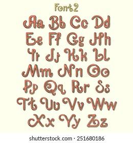 vintage font letters set