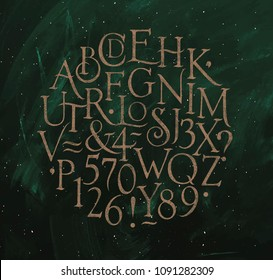 Vintage font in retro style drawing on green background