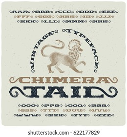 Vintage font with textured effect and hand drawn illustration of mythological chimera