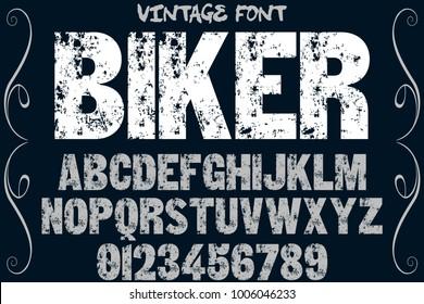 vintage font typeface handcrafted vector named biker