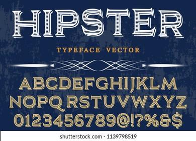vintage font typeface handcrafted vector named hipster and label design