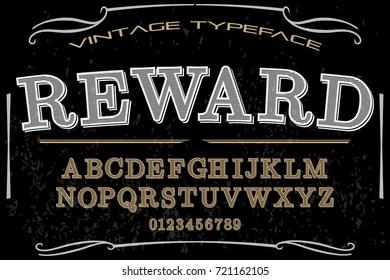vintage font typeface  handcrafted vector named reward