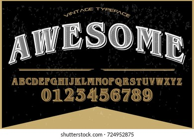 vintage font typeface  handcrafted vector name awesome