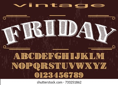 vintage font  typeface handcrafted vector named friday