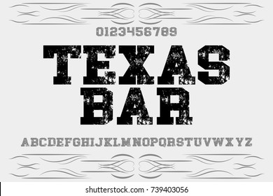 vintage font typeface handcrafted vector old style named texas bar