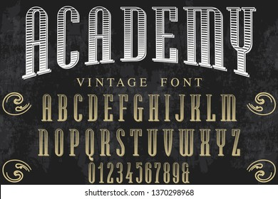 vintage font typeface vector named academy