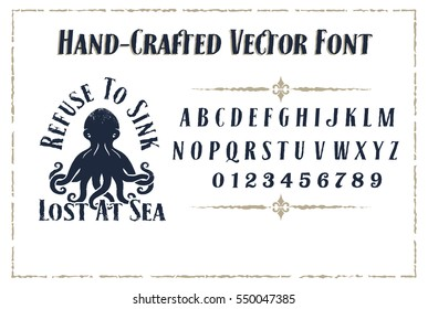 Vintage Font Vector with Steam Punk Alphabet Type