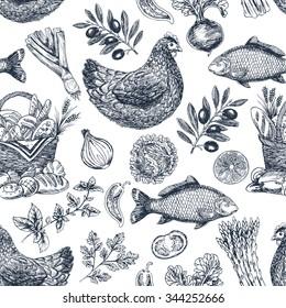 Vintage food background. Different kinds of food. Vector illustration