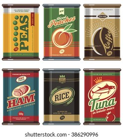 Vintage food cans. Retro food can vector collection. No gradients, no transparencies, no drop shadow effects, only fill colors. Peas, coffee, peaches, ham, tuna, rice.