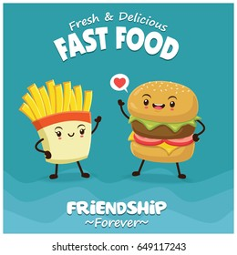 Vintage food poster design with burger & fries character.