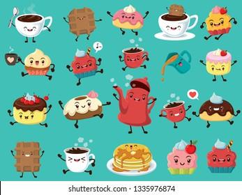 Vintage food poster design set with vector coffee, cake, cupcake, pancake, tea pot, cookies character.