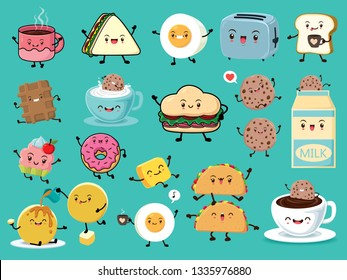 Vintage food poster design set with vector Taco, milk, egg, toaster, sandwich, bread, coffee, cake, cupcake, pancake, cookies character.