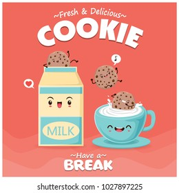 Vintage food poster design with vector milk & cookies character.