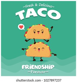 Vintage food poster design with vector taco character.