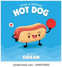 Vintage food poster design with vector hot dog characters.