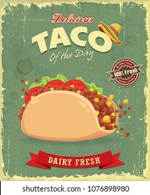 Vintage food poster design with vector Taco.