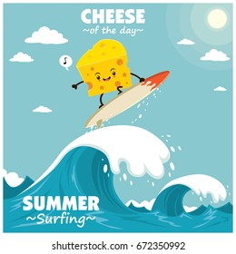 Vintage food poster design with vector cheese surfer.