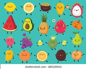 Vintage food poster design with vector lemon, passion fruit, mango, dragon fruit, avocado, pineapple, pumpkin, cherry, grapes, durian, pear, orange, peach character.