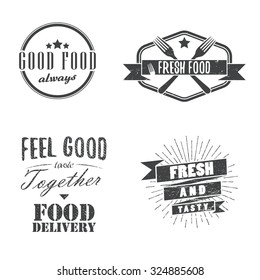 Vintage food related labels, badges, logos, signs, design elements. Vector.