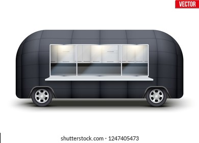 Vintage Food Truck Vintage Food Truck Trailer. Fast food retro van with window. Black color. Editable Vector illustration Isolated on white background.