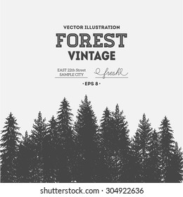 Vintage forest design template. Vector illustration