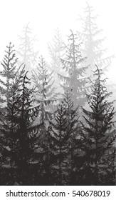 Vintage forest print. Vector illustration