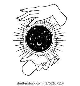Vintage Fortune Hands with magic ball. Sketch graphic illustration with mystic and occult hand drawn symbols. Vector illustration. Halloween, astrological and esoteric concept.