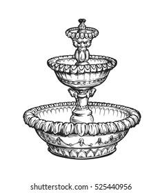 Vintage fountain. Sketch vector illustration