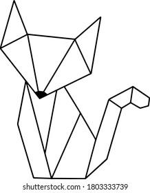 Vintage Fox Black Fox Polygon Geometric Origami