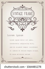 vintage frame with beautiful filigree and decorative border or premium invitation cards,vector illustration