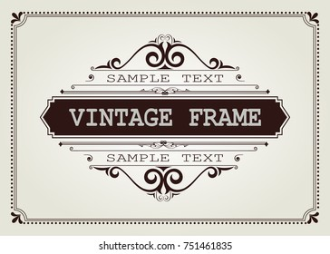 vintage frame with beautiful filigree, decorative border, vector illustration