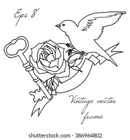 Vintage frame with bird, key and rose
