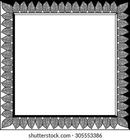 Vintage frame. Black and white pattern.