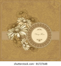 Vintage frame with blooming chamomile