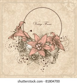 Vintage frame with blooming lilies and heart