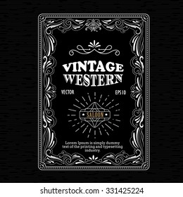 Vintage frame border western label hand drawn retro engraving antique vector illustration