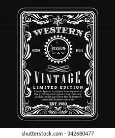 vintage frame border western label retro frame hand drawn engraving antique vector illustration
