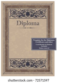 Vintage frame, certificate or diploma template. Used brushes and pattern included.