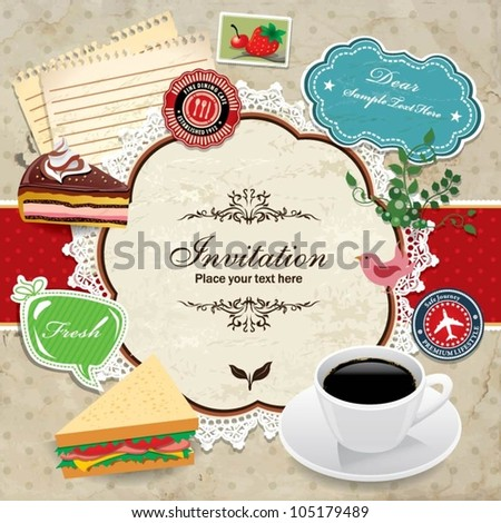vintage frame coffee sandwich template stock vector royalty free