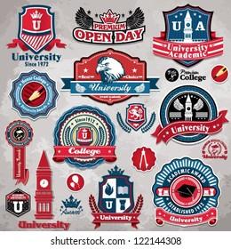 Vintage frame college university label set