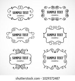 Vintage frame, design elements, vector set.
