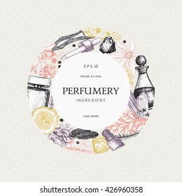 Vintage frame design with ink hand drawn aromatic fruit, flowers and leaves sketch. Floral and organics ingredients for perfumery background.  Vector template in pastel colors
