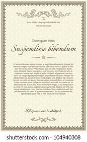 Vintage frame or diploma on damask background.
