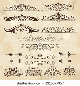 Vintage frame elements. Calligraphy borders and corners filigree classic retro vector design template